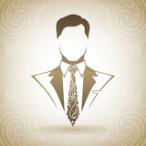 Vintage ornamental man in suit and tie. Decorative icon on a background with pattern Stock Photo