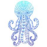 Vintage ornamental octopus gradient blue color outline