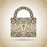 Vintage ornamental padlock. Decorative icon on a background with pattern Stock Photos