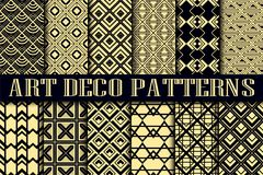 Art Deco patterns. Vintage ornamental seamless patterns set in Art Deco style Stock Photos
