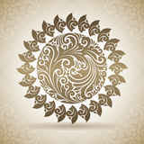 Vintage ornamental sun. Decorative icon on a background with pattern Royalty Free Stock Images