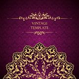 Vintage ornamental template with pattern and decorative frame. vector illustration