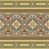 Vintage ornamental tile border set. Editable vintage tile border set in ochre, brown, black, red, blue colors.Consists of one wide ribbon with flower in circles Stock Images