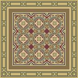 Vintage ornamental tile set with border. Editable vintage tile set with border in ochre, brown, black, red, blue colors. The main element is a flower in circles Stock Photos