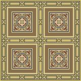 Vintage ornamental tile set square with border. Editable vintage tile set in ochre, brown, black, red, blue colors. Includes five types of tiles, one for main Royalty Free Stock Photo