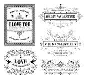 Vintage ornaments. Valentine day ornaments and frames Royalty Free Stock Image