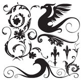 Vintage ornaments. Vintage floral ornaments with decorative winged dragon. Vector Illustration Stock Photography