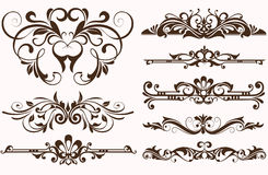Vintage ornaments borders design. Vintage frames and corners with delicate swirls in Art Nouveau for decoration and design works with floral motifs vintage style Stock Photos
