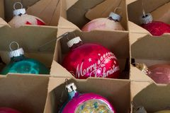 Vintage Ornaments in Box Stock Photography