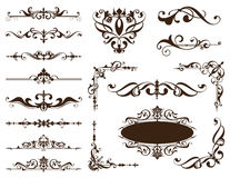 Vintage ornaments design elements floral curlicues curbs frame corners stickers. 