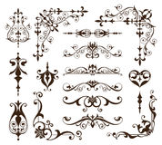 Vintage ornaments design elements floral curlicues white background curbs frame corners stickers. White background Royalty Free Stock Image