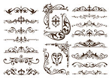 Vintage ornaments design elements floral curlicues white background curbs frame corners stickers. White background Stock Images