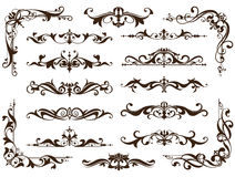 Vintage ornaments design elements floral curlicues white background curbs frame corners stickers. Borders, monograms and dividers. Patterns on a white Stock Photography