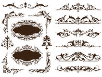 Vintage ornaments design elements floral curlicues white background curbs frame corners stickers. Borders, monograms and dividers. Patterns on a white Stock Image