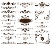Vintage ornaments design elements floral curlicues white background. Curbs frame corners stickers decoration on white background Stock Photo