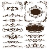 Vintage ornaments design elements floral curlicues white background curbs frame corners stickers. Decoration on white background Royalty Free Stock Images