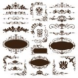 Vintage ornaments design elements floral curlicues white background curbs frame corners stickers. Decoration on white background Stock Photos