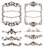 Vintage ornaments design elements floral curlicues white background curbs frame corners stickers Royalty Free Illustration