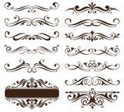 Vintage ornaments design elements floral curlicues white background curbs frame corners stickers illustration Vector Illustration