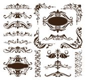 Vintage ornaments design elements floral curlicues white background  Royalty Free Stock Photography