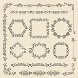 Vintage ornaments and dividers. Design elements set. Ornate floral frames and banners. Vector graphic elements for design. royalty free illustration
