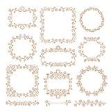 Vintage ornaments and dividers. Design elements set. Ornate floral frames and banners. Vector graphic elements for design. stock illustration