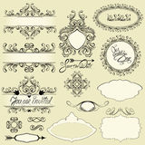 Vintage ornaments and frames, vignettes, calligraphic design Stock Photography
