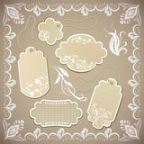 Vintage ornate beige labels Royalty Free Stock Photo