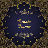 Vintage ornate card. Golden Eastern floral decor on dark backdrop. Template  frame for holiday occasion, birthday and Stock Images