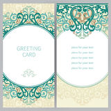 Vintage ornate cards in east style. Stock Images