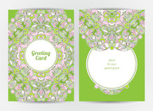Vintage ornate cards with Eastern elements. Royalty Free Stock Image