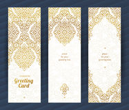 Vintage ornate cards in Eastern style. Royalty Free Stock Images
