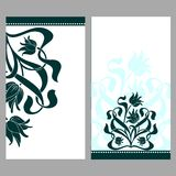 Vintage ornate cards with flowers and curls Royalty Free Stock Photography