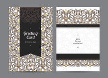 Vintage ornate cards in Victorian style. Royalty Free Stock Photography