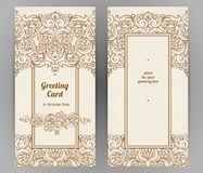 Vintage ornate cards in Victorian style. Royalty Free Stock Photo