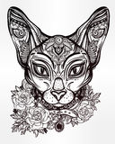 Vintage ornate cat head with floral collar. Royalty Free Stock Photos