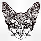 Vintage ornate cat head with tribal ornaments. Royalty Free Stock Photos