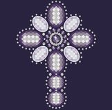 Vintage Ornate Christian Cross from brilliant stones,violet rhinestone applique. Royalty Free Stock Photography