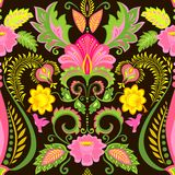 Vintage ornate colorful wallpaper with floral exotic pattern and feathers Royalty Free Stock Photos