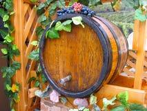 Vintage ornate decor handmade wooden wine barrel Royalty Free Stock Photo