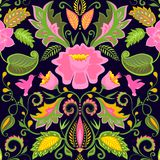 Vintage ornate floral wallpaper with exotic flowers and birds Royalty Free Stock Image