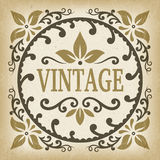 Vintage ornate label frame vector with leafs and scrolls shape Stock Photography