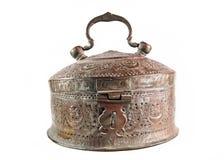 Vintage ornate metal brass casket. On white background Royalty Free Stock Photography