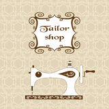Vintage ornate seamless pattern with retro sewing machine. Sewing theme. Vintage frame. For atelier, sewing studio Stock Photography