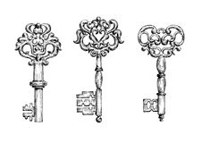 Vintage ornate skeleton keys in sketch style Stock Photography