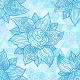 Vintage ornate vector blue flowers Royalty Free Stock Photography