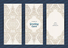 Vintage ornate vector cards in Eastern style. Stock Image