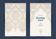 Vintage ornate vector cards in Eastern style. Stock Photo