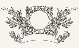 Vintage Ornate Wreath Scroll Banner. Vintage Ornate Wreath And Scroll Banner Royalty Free Stock Photos