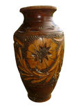 Vintage Ornated Brown Decorative Clay Vase Royalty Free Stock Images